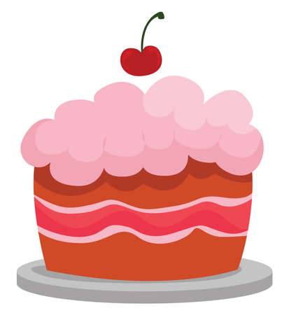 Pink cake, illustration, vector on white background