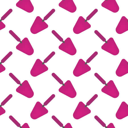 Pink shovel ,seamless pattern on white background. Stock Illustratie