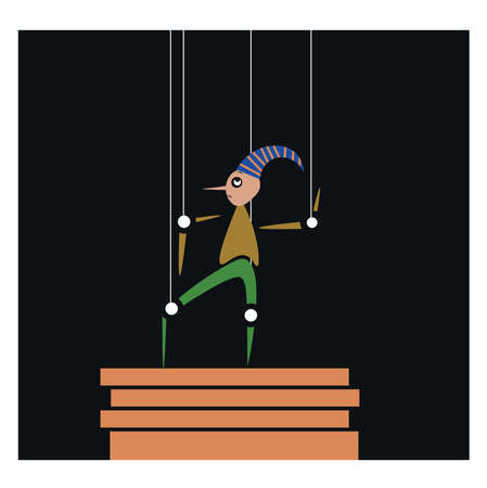 Puppet on wires, illustration, vector on white background