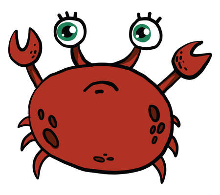 Sad crab, illustration, vector on white background