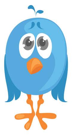 Sad bird, illustration, vector on white background