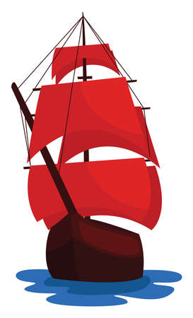 Scarlet sails, illustration, vector on white background