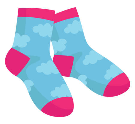 Socks with clouds on them, illustration, vector on white background