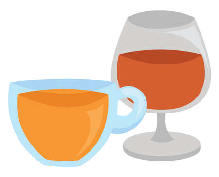 Tea with cognac, illustration, vector on white background