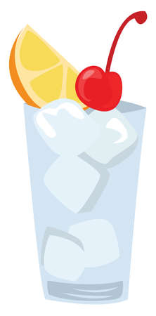 Tom Collins coctail, illustration, vector on white background
