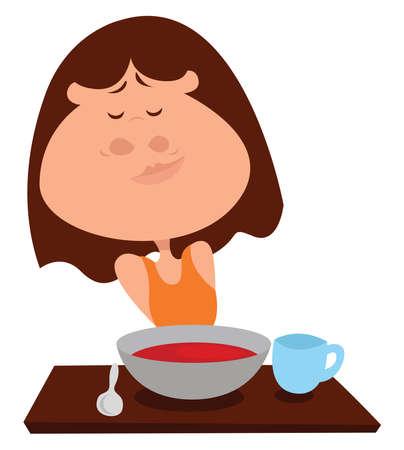Girl eating tomato soup, illustration, vector on white background Stock Illustratie