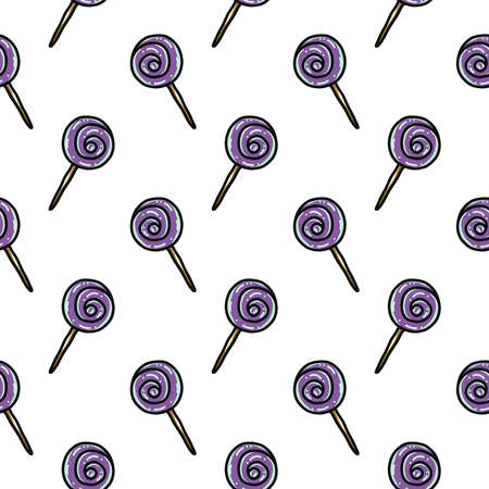 Purple lollipop ,seamless pattern on white background. Vettoriali