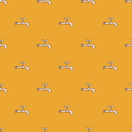 Water tap ,seamless pattern on orange background.