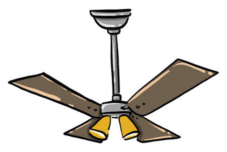 Ceiling fan, illustration, vector on white background Vettoriali