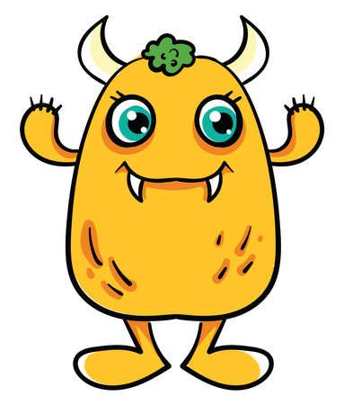 Yellow monster, illustration, vector on white background