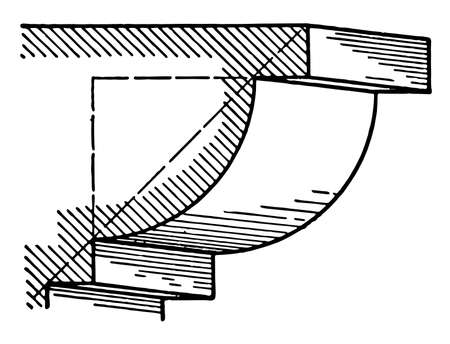 Ovolo, A roman moulding, composed of a quarter of a circle, an upper and lower fillet,  made apparent by referring to the figure, vintage line drawing or engraving illustration. 向量圖像
