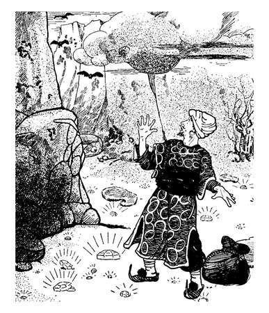 It has one scared man in his traditional outfit, surround by diamonds on ground, one bag near his leg, bats are flying behind him and clouds in the sky, vintage line drawing or engraving illustration