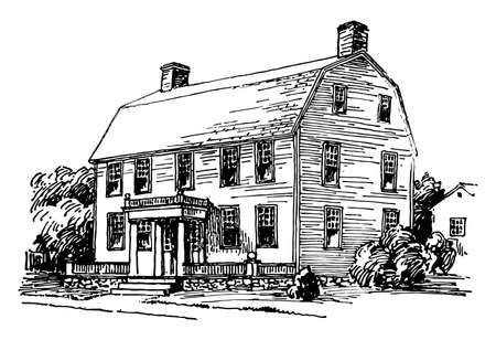 Gambrel roof is the same house with the fine effect, upper slope is positioned at a shallow angle, lower slope is steep, vintage line drawing or engraving illustration.