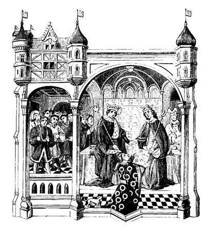 Talbot presenting a Book of Romances to Queen Margaret, vintage line drawing or engraving illustration.