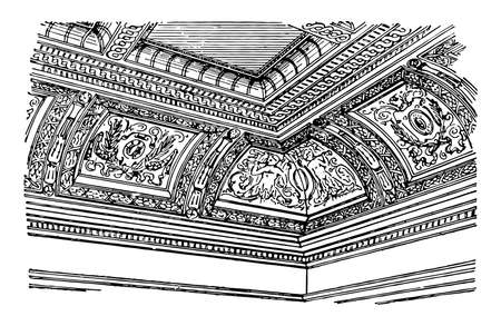 Coved Ceiling or arched manner, side, wall, rounded, framing, vintage line drawing or engraving illustration.