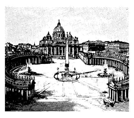 Rome, St. Peter's  is considered it's own city, an Italian Renaissance church  in Vatican City, the papal enclave, vintage line drawing or engraving illustration. Vectores