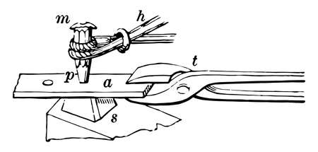 This illustration represents Punch which is the wood working end is pointed, vintage line drawing or engraving illustration.