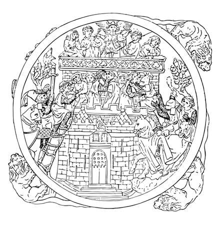 Ivory Carving, Mirror case illustrating storming of the Castle of Love, its about 14th century, vintage line drawing or engraving illustration. Illustration