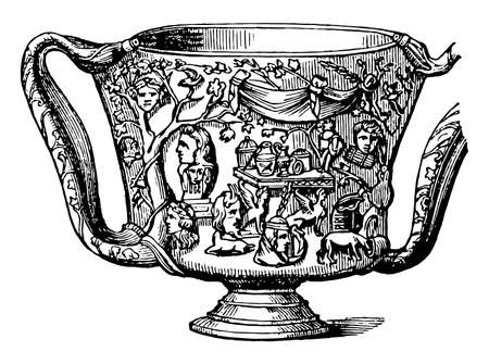 Carchesium is a beaker or drinking-cup which was used by the Greeks in very early times, it is corresponded to the handles of the cup, vintage line drawing or engraving illustration.