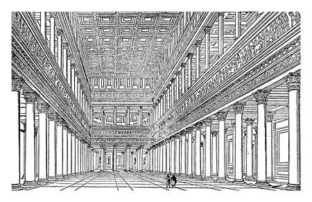 Interior of Trajan's Bascilica, as restored by Canina, ancient Roman civic building, full name was Marcus Ulpius Traianus, vintage line drawing or engraving illustration.