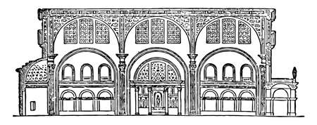 Basilica of Constantine, Section of the Basilica of Maxentius, Temple of Peace, an ancient building in the Roman Forum, vintage line drawing or engraving illustration.
