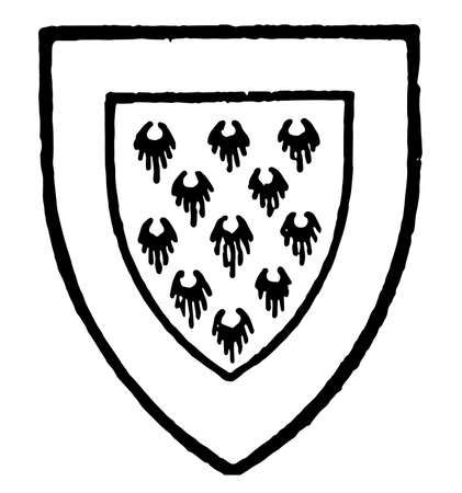 Hondescote bore Ermine a border gules, vintage line drawing or engraving illustration.