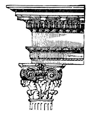 Composite Order, volutes, Ionic, leaves, vintage line drawing or engraving illustration