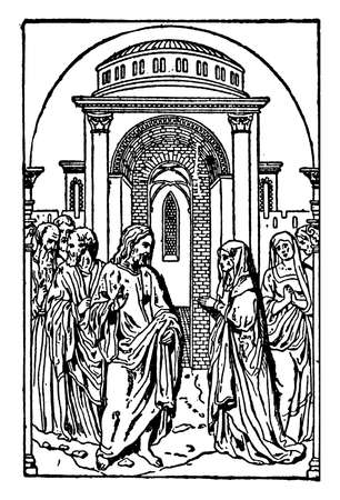 Bas-relief at Regensburg by Peter Vischer is German sculpture, vintage line drawing or engraving illustration. 일러스트