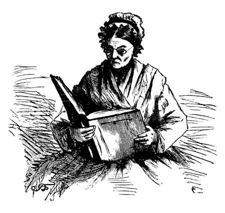 Woman Reading a large book, elderly, woman, quiet, private, vintage line drawing or engraving illustration.