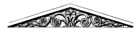 Pediment are sidon sarcophagi at Constantinopole, upper part of the front of a classical building, extending outwards from the foot, vintage line drawing or engraving illustration.