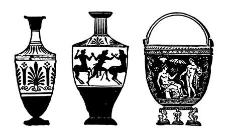Etruscan Vases a product of Greece than Etrusca, it is the main trends in style over the period, vases were a standard element of grave inventories, vintage line drawing or engraving illustration.