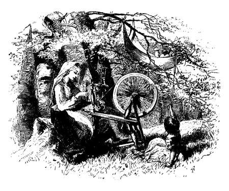 A woman with spinning wheel and little girl sitting on ground near her, baby in cloth cradle on tree and little girl holding rope attached to cradle, vintage line drawing or engraving illustration