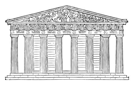 Parthenon restored, highest part of the Acropolis, near its centre, probably occupied the site, an earlier temple, entirely of Pentelic marble,