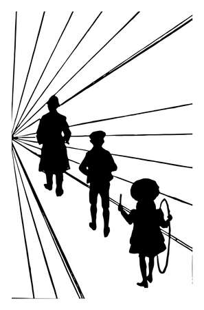 Visual Illusion, Perspective is the policeman really the smallest and the little girl is the biggest, it is the idiopathic visual disturbances could be analogous to the altered excitability, vintage line drawing or engraving illustration.