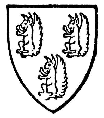 Talbot of Lancashire had three purple squirrels, vintage line drawing or engraving illustration.  イラスト・ベクター素材