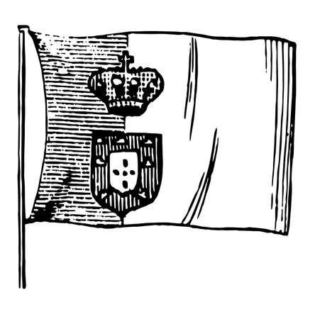 Flag of Portugal, 1881, this flag divided into two verticle bands, crown and shield on verticle line, vintage line drawing or engraving illustration 向量圖像