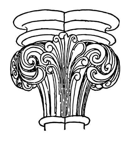 Capital, Lincoln, Cathedral, conventional, lotus, vintage line drawing or engraving illustration.