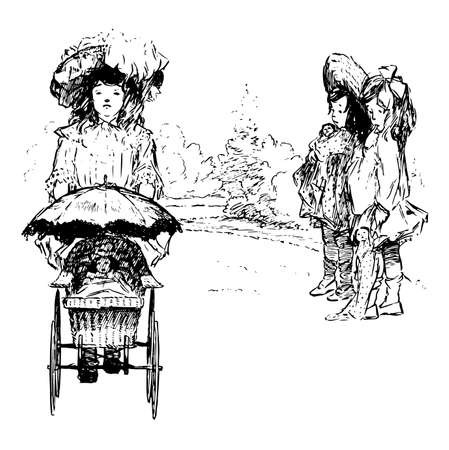 Joe's Bee-Sting, this scene shows three little girls with their dolls, one girl kept doll in stroller and walking, other two girls holding dolls in hands and looking at her, vintage line drawing or engraving illustration 向量圖像