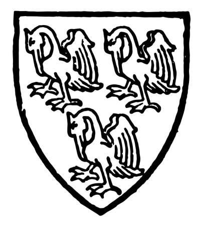 Pelham bore Azure three pelicans silver, vintage line drawing or engraving illustration.