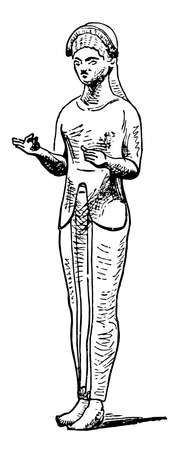 Etruscan Figure is a Bronze Sculpture, vintage line drawing or engraving illustration.