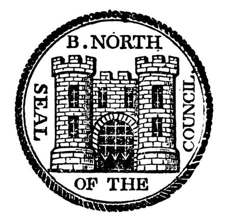 The seal of Bridgenorth, it has castle inside and top of it B. North is written and outer side Seal of the Council is written, vintage line drawing or engraving illustration