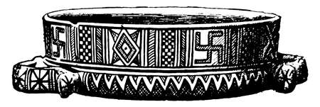 Greek Vase is a  geometric style, its  like a dish, Greek vase shapes has had a continuous evolution, vintage line drawing or engraving illustration.  イラスト・ベクター素材