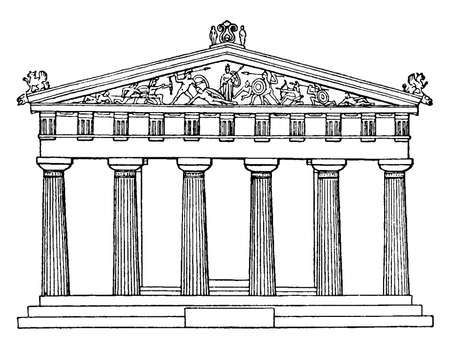 Temple Aegina or it is related to the goddess Aphaia, West Front of Temple, a sanctuary complex dedicated, the Greek island of Aigina,  vintage line drawing or engraving illustration.