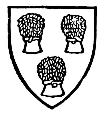 Chester have three sheaves being on the shield, vintage line drawing or engraving illustration.