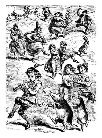 Tom, Tom, The Piper's Son began for dance behind legs would after him dance and tune that he could play, vintage line drawing or engraving illustration.