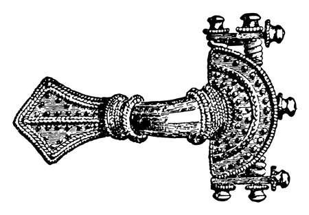 Brooch have Gold fibula work, vintage line drawing or engraving illustration.