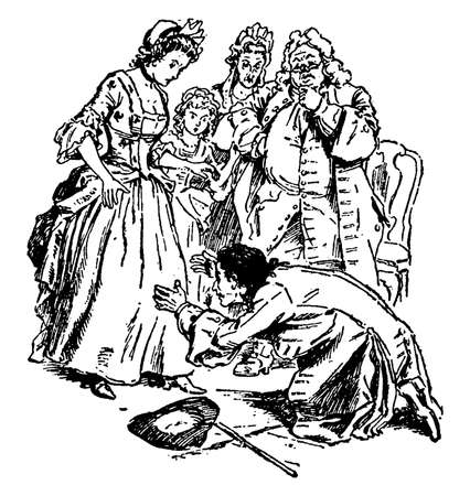 Gulliver Stoops to Wife, this scene shows a family, and a man stoops down at his wife's knees and other family members standing and looking at him, vintage line drawing or engraving illustration