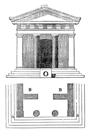 Threshold with the ancients, an object of superstitious reverence,  the worshipper,  right foot on the bottom step, vintage line drawing or engraving illustration.