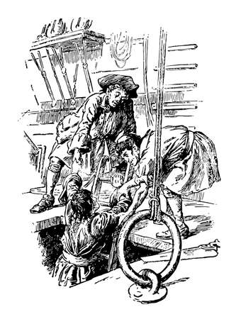 Gulliver Climbing Out, this scene shows crew member and captain giving hand to a man to help him out of his box with the help of ladder, vintage line drawing or engraving illustration