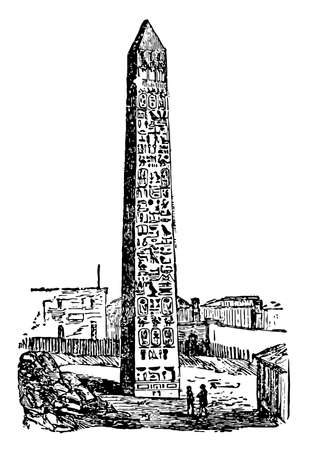 Obelisk is a square monument with a pyramidal top having square or rectangular cross section of monument or landmark, vintage line drawing or engraving illustration. 矢量图像